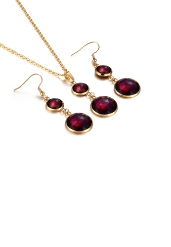 Glamorousky red Fashion and Elegant Plated Gold Geometric Round Red Cubic Zirconia 316L Stainless Steel Necklace and Earrings Set 1BD86ACC8896B0GS_1
