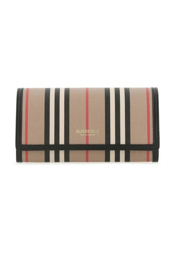 Burberry beige Burberry Icon Stripe E-Canvas Long Wallet in Archive Beige 47AF4AC133AE47GS_1
