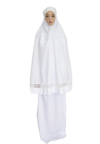 Cantik Butterfly white Grace Telekung Set with Elegant Lace (White) 7815EAACC67CC0GS_1