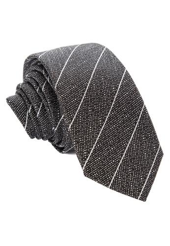 Burton Menswear London grey Grey Scratch Stripe Tie BU102AC0J9K4PH_1