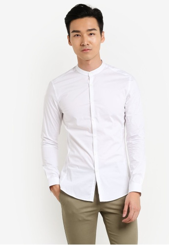 Topman white White Stretch Skinny Stand Collar Long Sleeve Smart Shirt TO413AA0R9T8MY_1