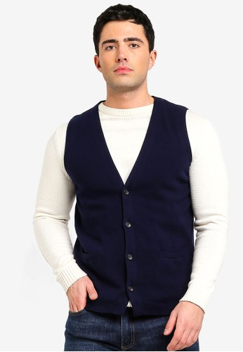 MANGO Man blue and navy Knitted Cotton Gilet 1894DAA6FCDA8CGS_1
