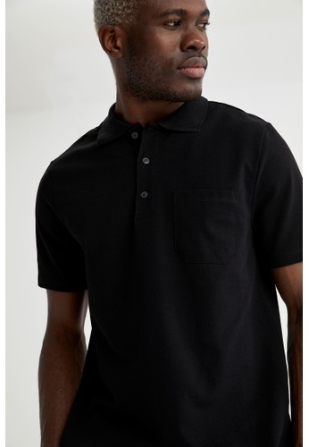 DeFacto black Man Knitted Polo T-Shirt 2096FAAA19832CGS_1
