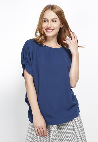 REE navy Boxy Blouse With Side Detail - Navy BA439AA68A93D1GS_1