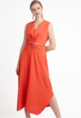 LOVADOVA INDONESIA orange Janette Knot Tie Maxi Dress 2639DAABE72EDDGS_1