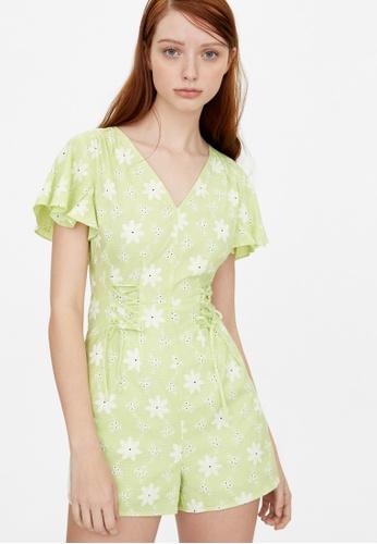 Pomelo green Butterfly Sleeve Eyelet Romper - Green BA230AAF77A850GS_1