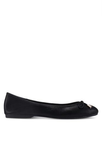 prettyFIT black Bow Shimmery Leather Ballerina Flats B7BCCSH8B9C5B5GS_1