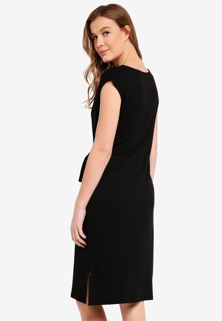 Cotton Dress Fiona Waist Black Midi On Tie xxq4rBtwI
