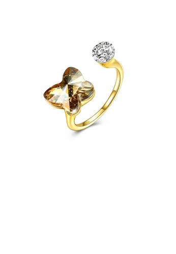 Glamorousky gold 925 Sterling Silve Gold Plated Luxury Elegant Fashion Butterfly Adjustable Opening Ring with Golden Austrian Element Crystal DAD22ACE6C9052GS_1