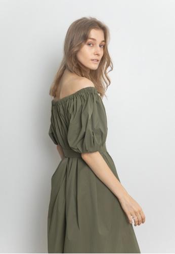 TAV [Korean Designer Brand] Simple Gathered Neck Dress - Khaki ABEABAAC4E656EGS_1