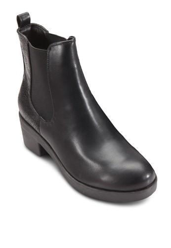 zalora 衣服評價側彈性帶粗跟切爾西短靴, 女鞋, 鞋