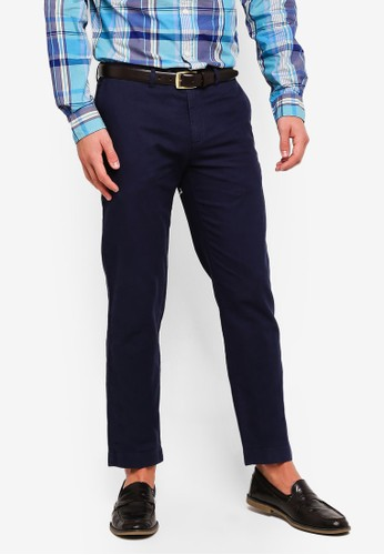Brooks Brothers navy Red Fleece Slim-Fit Garment-Dyed Cotton-Linen Stretch Chinos 80831AAD2ADC92GS_1