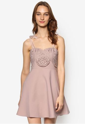 透視緞帶蝴蝶結幾zalora 評價代蕾絲修身洋裝, 服飾, 洋裝