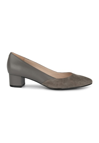 MAUD FRIZON grey Kid Suede & Leather Material Blocking Pointy Toe Pump 158A9SH2D1AD4CGS_1