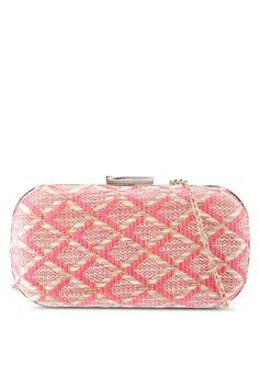 f30efaf354 Red s Revenge pink Ikat Straw Clutch 27C56AC027A520GS 1