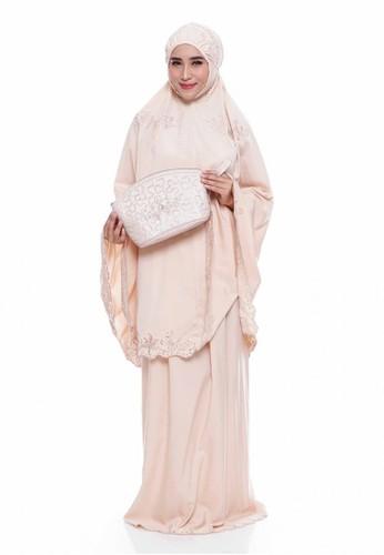 First Hijab brown Prayer Set Premium Bordir Fayza in Cream 2BDB3AA8ACFBA5GS_1