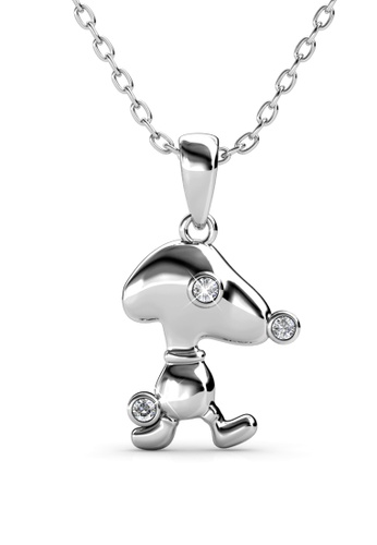 Her Jewellery silver Pup Beagle Pendant (White Gold White) -  Embellished with Crystals from Swarovski® 2253DAC9CCF06AGS_1