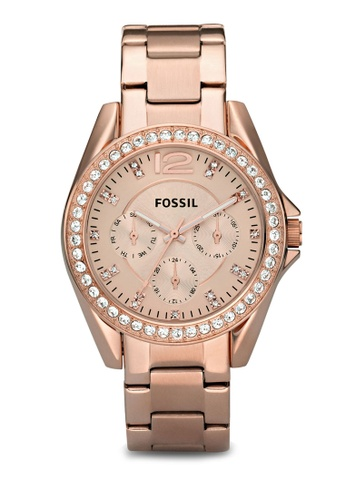 Fossil silver and gold Rose Gold/Silver Riley Multifunction Stainless Steel Watch ES2811 FO164AC59ZQMMY_1