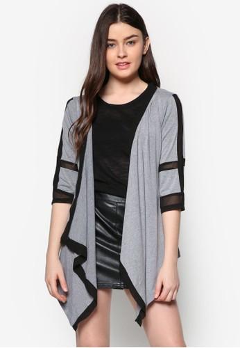 zalora退貨不對稱下擺拼色外套, 服飾, 毛衣& 針織外套