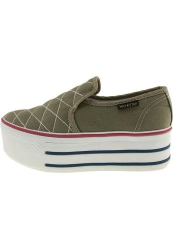 Maxstar 綠色 新款韩国鞋C50-Stitch時尚帆布布混合女綠色 US Women Size MA345SH20GWHTW_1