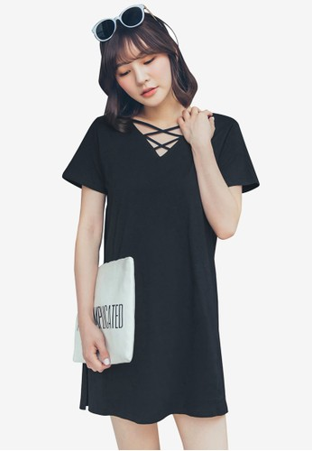 Tokichoi black T-Shirt Dress With Crossover Detail EBF58AA4D128B8GS_1