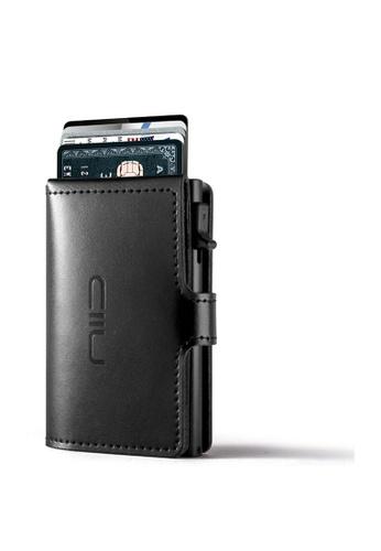 NIID black Anti Scratch ‧RFID‧Automatic Leather Mini Wallet - Black 5D173AC798FD62GS_1