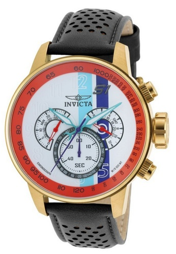 INVICTA black and gold Invicta S1 Rally Men 48mm Case Black, Brown, Orange Leather Strap Blue, White, Orange, Purple Dial Quartz Watch 19901 w/ Yellow Impact Case IN968AC0FVSZSG_1