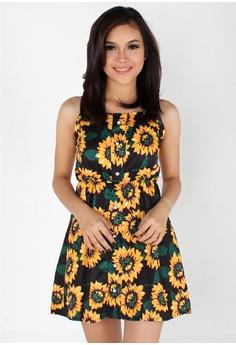 Sunflower Spaghetti Strap Dress