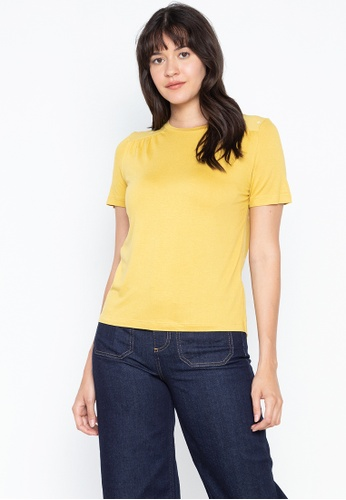 MARKS & SPENCER yellow Short Sleeve Ditsy Print Top 6751EAA100BA03GS_1