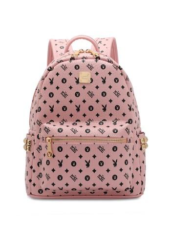 PLAYBOY BUNNY pink Studs Monogram Backpack 24594AC42CD9EAGS_1
