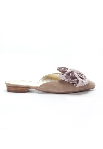 Shu Talk beige Sexy Big Bow Velvet Slip On Pointy Mule SH397SH0GYG9SG_1