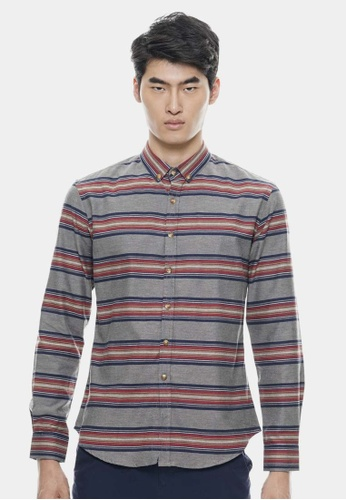 Private Stitch grey Stylish Shirt With Classic Horizontal Stripe PR777AA93DVMMY_1