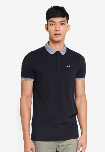 Hollister black Core Icon Solid Polo Shirt FAA40AA75BBE26GS_1