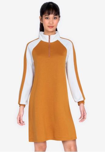 ZALORA BASICS multi Zip Neck Sweater Dress 68061AA810E258GS_1