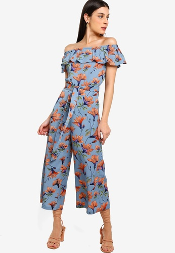 ZALORA blue and multi Off Shoulder Jumpsuit BDF87AA0255604GS_1