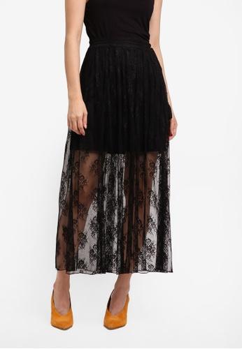 ZALORA black Studio Lace Pleated Midi Skirt 14523AA7ECB9D8GS_1