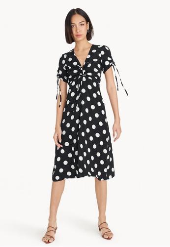 Pomelo black Midi Polka Dot Ruched Open Back Dress B9689AAD7FB41FGS_1