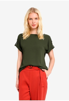 Dorothy Perkins green Khaki Button Top 43507AAF7C2051GS 1 e2f217967