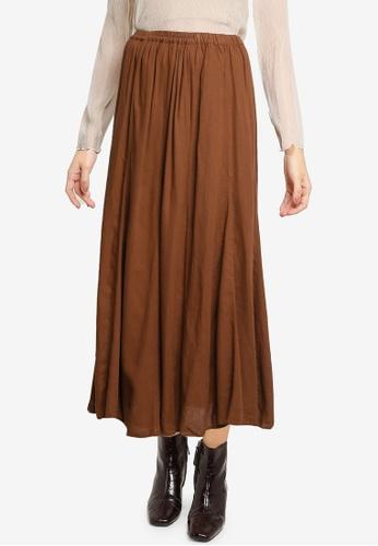 LOWRYS FARM brown Ruched Plain A-line Skirt CD905AAF9FE74FGS_1