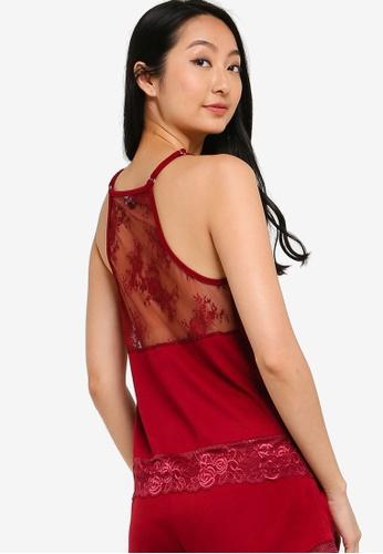 ZALORA BASICS 紅色 Lounge 綢緞& 蕾絲後細肩帶上衣 2ADD1AAE344C72GS_1