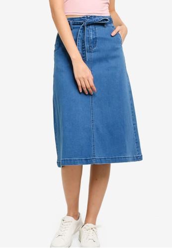ZALORA BASICS blue Stretch Denim Midi Skirt 198BCAAA2BDE70GS_1