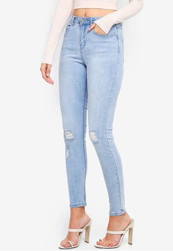 MISSGUIDED blue Sinner High Waisted Distressed Knee Jeans 79186AAC63BEAAGS_1