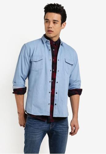 ZALORA blue Ripped Elbow Western Denim Shirt 0AA0BAAE34C86BGS_1