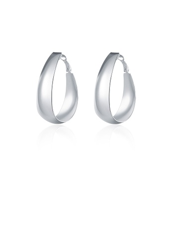 Glamorousky silver Fashion Simple Oval Earrings 7EACEACE643CA5GS_1