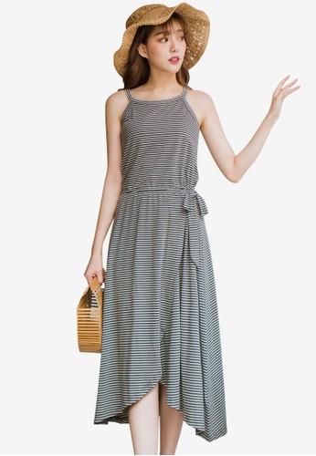 Tokichoi grey Striped Halter Neck Dress 2ED42AA461D562GS_1