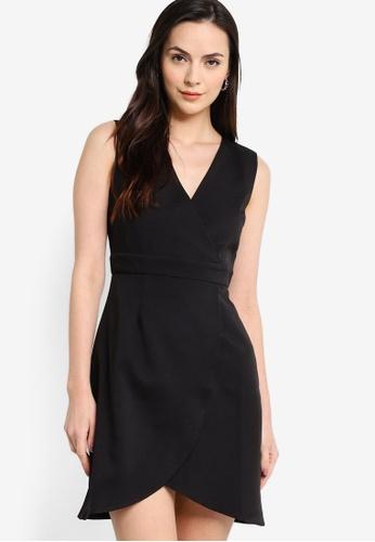 ZALORA WORK black Sleeveless Wrap Mini Dress 0EFD9AABE96567GS_1