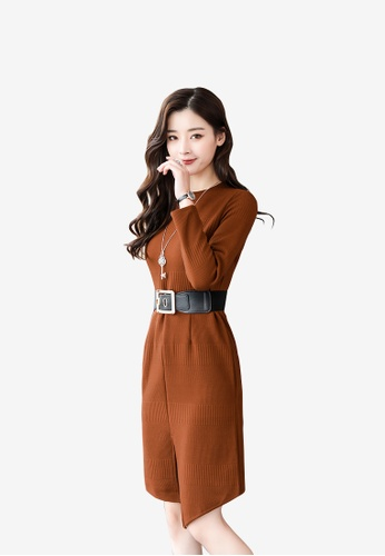 hk-ehunter brown Women Round Neckline Long Sleeves Knitted Dress 8C70EAA1324407GS_1