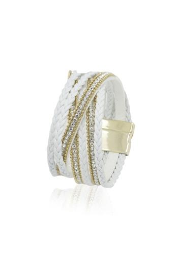 Her Jewellery multi Swarovski® Crystals - Braided Crystal Bracelet (White) (18K White Gold Plated) Her Jewellery HE581AC0R9UJMY_1