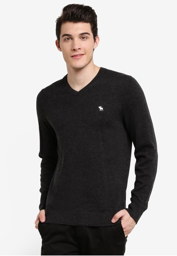 Abercrombie & Fitch grey V-Neck Jumper AB423AA0RCROMY_1
