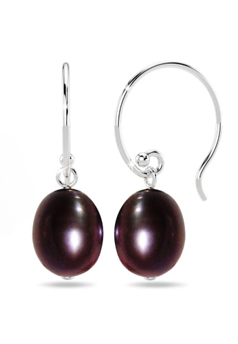 925 Signature 銀色 925 SIGNATURE Solid 925 Sterling Silver Freshwater Pearl Drop Earrings Black 71FB7ACAD16734GS_1